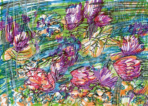 Rivier met bloemen van Eva van den Hamsvoort