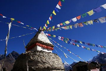 Stupa met gebedsvlag van Jürgen Wiesler