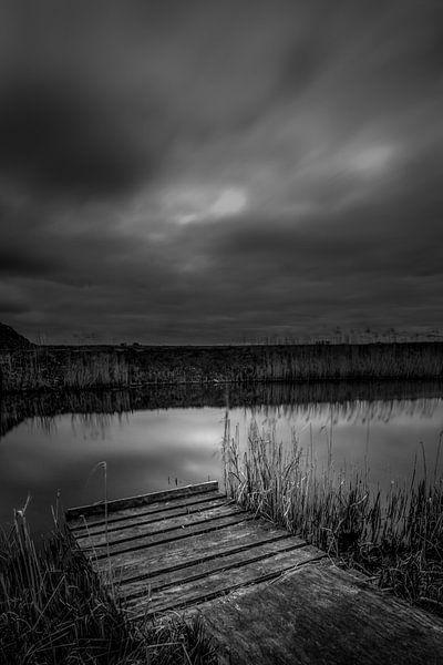 (zwart-wit) lange sluitertijd van een stijger van Rubin Versigny