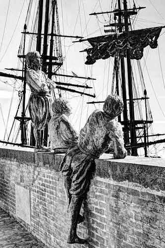 Hoorn Noord-Holland Nederland Jongens van Kapitein Bontekoe Zwart-Wit
