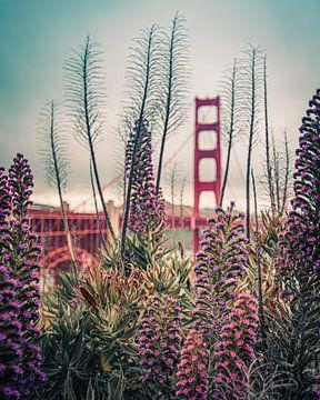 Bloemen met de Golden Gate Bridge van Bert Nijholt