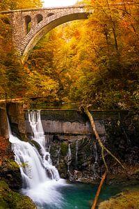 Wasserfall und ein Zugviadukt in einer Schlucht im Herbst