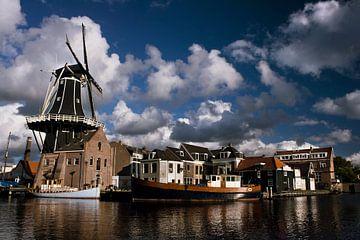 Haarlem vanaf het Spaarne met molen de Adriaan van Ties van Veelen