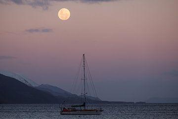 Zeilboot onder de maan, Argentinië van Geert Smet