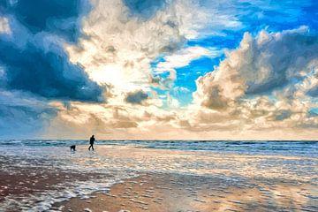 Schilderachtig beeld van het strand van eric van der eijk