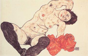 Weiblicher Akt mit Handtuch, Egon Schiele - 1917 von Atelier Liesjes