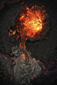 Island Geldingadalir Vulkan Krater mit Lava