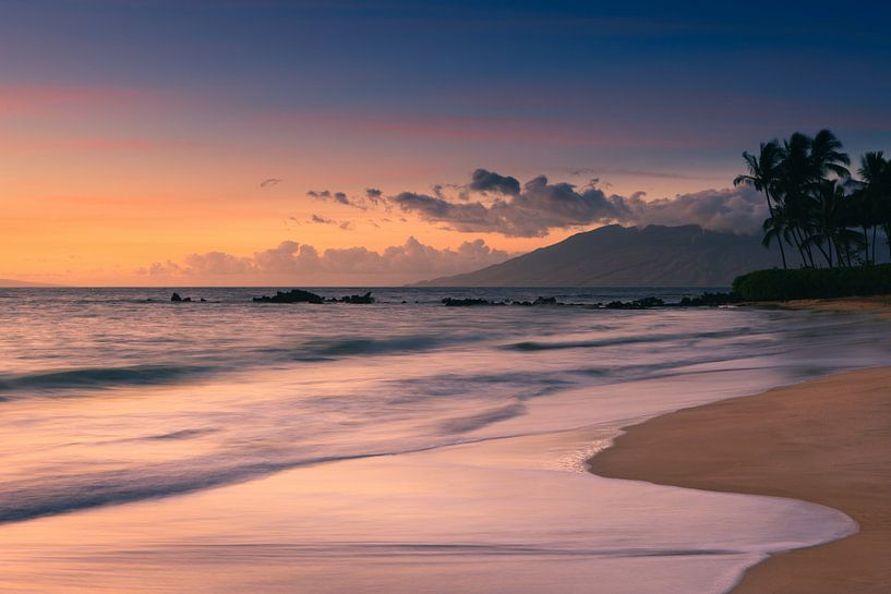 Sunset Poolenalena Beach - Maui - Hawaii van Henk Meijer Photography