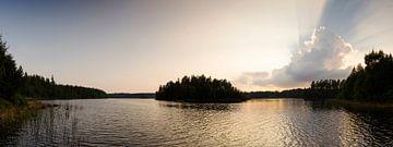 Helle Sonne über goldenen See von Marloes van Pareren