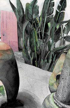 Innenhof Aquarellfarbe von Hayleigh Smith