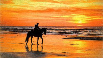 Paard en ruiter op het strand tijdens een zonsondergang van eric van der eijk