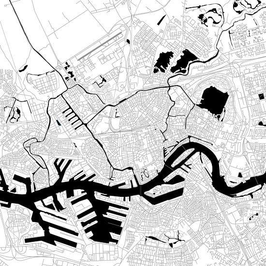 Rotterdam | Stadskaart | Vierkant in ZwartWit
