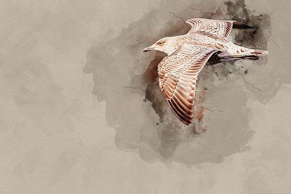 Vliegende jonge zilvermeeuw van Art by Jeronimo