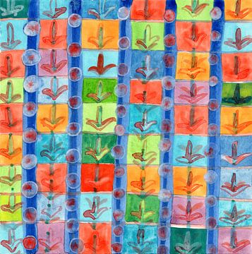 Colorful Planting Plants in Squares Pattern  van