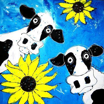 Twee koeien met zonnebloemen van Nicole Roozendaal