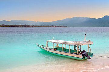 Traditionele vissersboot op het strand van Gili Meno eiland in Indonesië van Nisangha Masselink