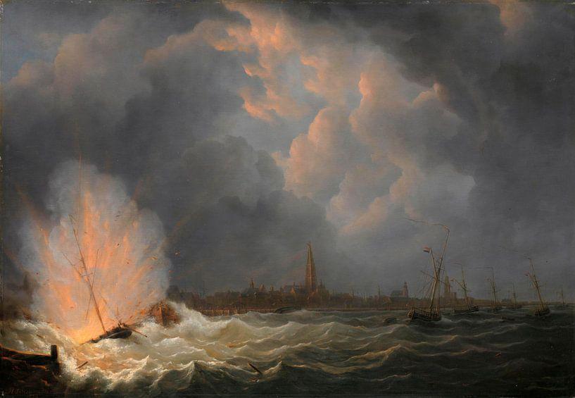Die Explosion des Kanonenbootes Nr. 2, unter dem Kommando von Jan van Speijk, vor Antwerpen, 5. Febr von Meesterlijcke Meesters