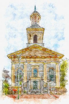 De Witte Kerk in Steenbergen (Brabant, Nederland) (aquarel) van Art by Jeronimo