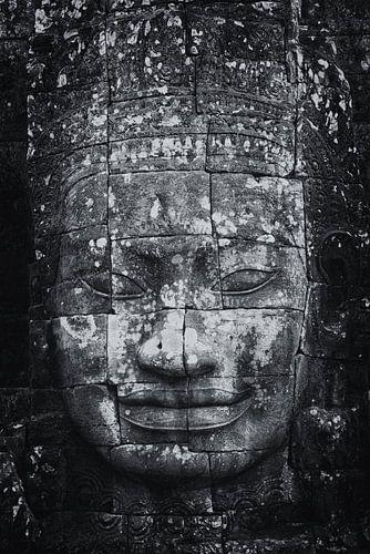 Sculptuur van Budha  in de ruines van Angkor Wat One2expose van