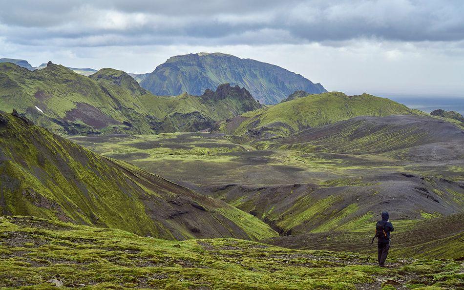 Wandelaar in groen berglandschap IJsland van Jeroen Kleiberg
