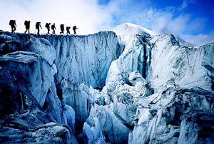 Bergbeklimmers op de Glacier de Moiry