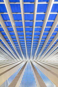 Verticale blauwe lijn Liege-Guillemins von Dennis van de Water