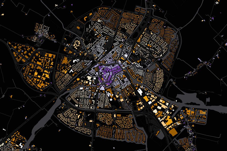 Kaart van Sneek abstract van Stef Verdonk