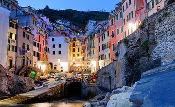 Riomaggiore, Cinque Terre in de avond Liguria Italy van Ruurd Dankloff