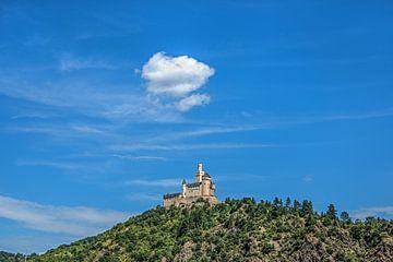 """Het kasteel """"Der Marksburg"""" aan de rivier de Rijn van"""