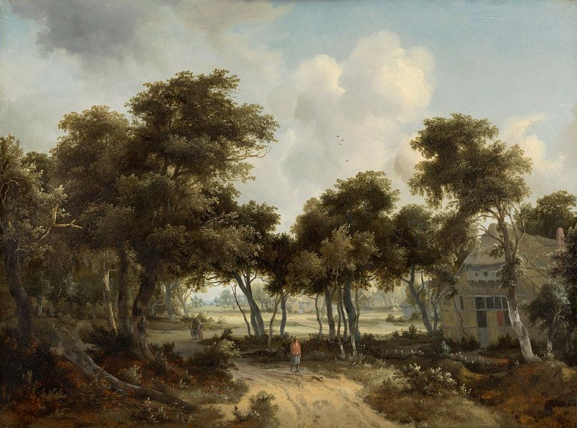 Ferienhäuser im Wald, Meindert Hobbema von Meesterlijcke Meesters
