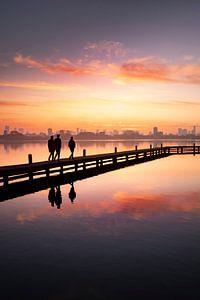 Zonsondergang van de Rotterdamse skyline (staande modus) van Claire Droppert