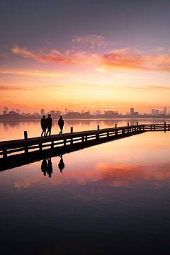 Sonnenuntergang der Skyline von Rotterdam (Hochformat)