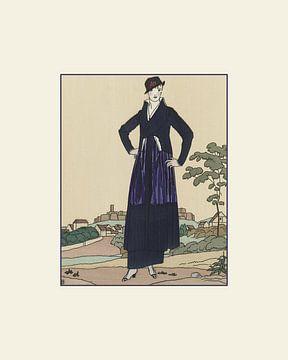 Een dame in het blauw | Historische, vintage art deco fashion print van NOONY