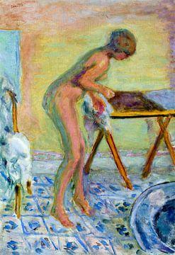 Nackte Frau am Klapptisch von Atelier Liesjes