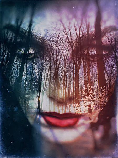 The face in the winter forest van Gabi Hampe
