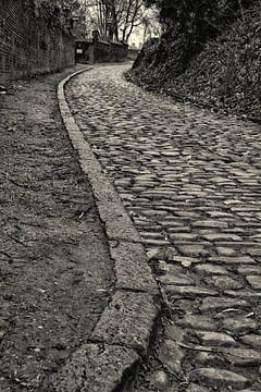 Kopfsteinpflaster Straße in Kraainem, schwarz und weiß von Manuel Declerck