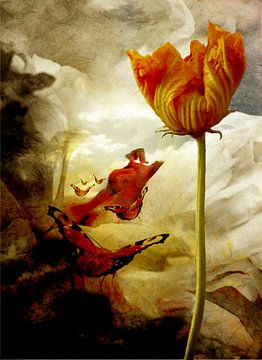 surrealistische Landschaft mit Schmetterlingen von Marijke van Loon
