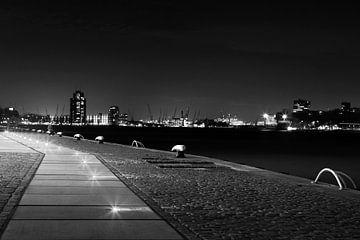 Lichtjes in Rotterdam Haven zwart-wit von Dexter Reijsmeijer