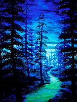 """""""blauw bos"""",  donker bos of het enge bos van Bor de wolf von Clement vw"""