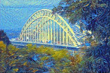 Kunstwerk Waalbrug van Nijmegen - geschilderd met ons algoritme in de stijl van Van Gogh van Slimme Kunst.nl