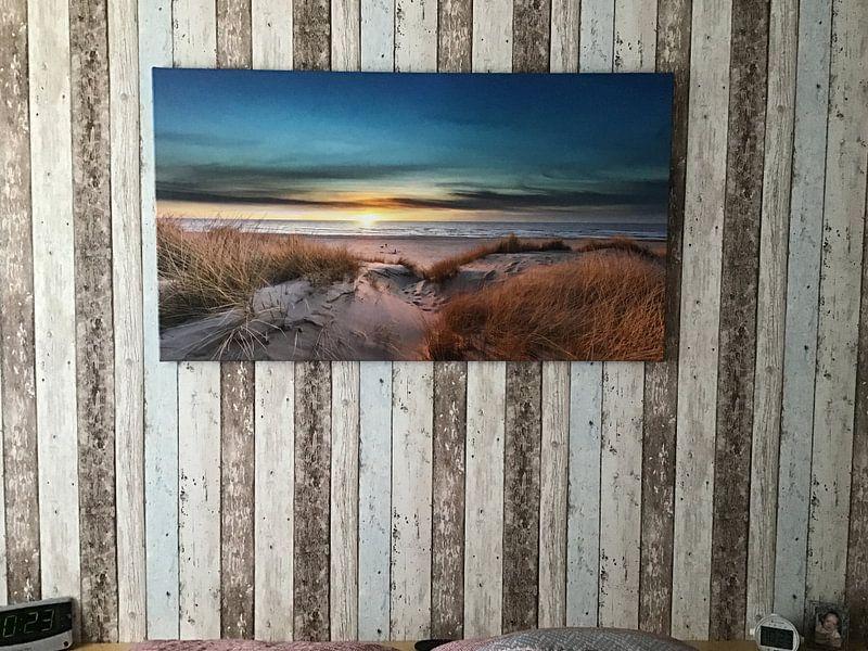 Klantfoto: Paal 17 Texel zonsondergang van Texel360Fotografie Richard Heerschap, op canvas
