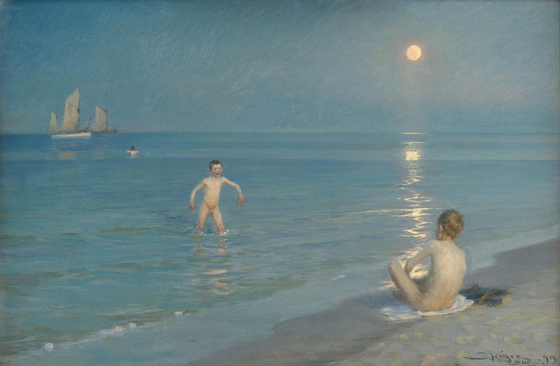 Jungen baden in Skagen. Sommerabend, Peder Severin Krøyer von Meesterlijcke Meesters
