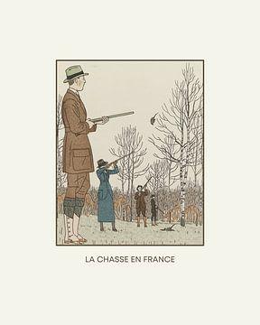 La chasse en France - Die Jagd, Art Deco, 1920er Jahre Modedrucke von NOONY