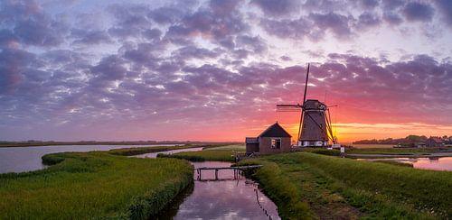 Molen het Noorden Texel Zonsondergang van