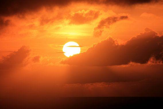 Vurige oranje zonsopkomst van Daniel van Delden