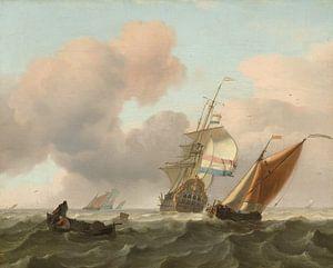 Ludolf Bakhuysen. Woelige zee met schepen