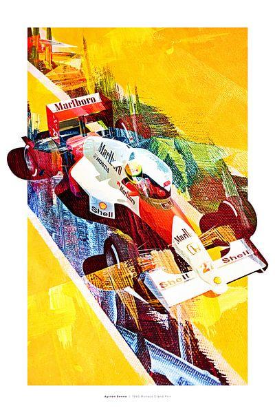 Ayrton Senna Monaco 1990 van Nylz Race Art