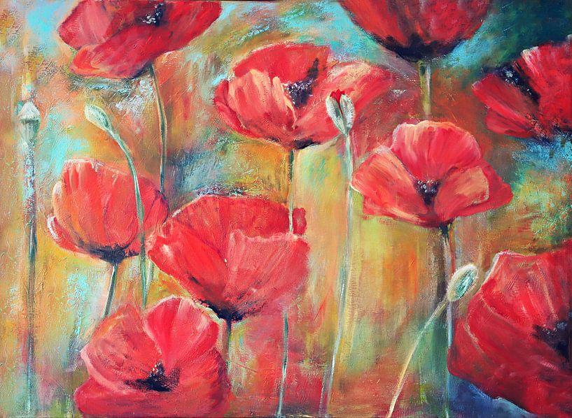 klaprozen in het veld.. ( poppies in the field) painting von Els Fonteine