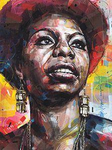 Nina Simone Malerei von Jos Hoppenbrouwers