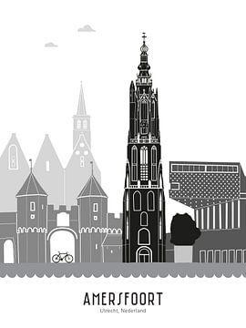Skyline-Illustration Stadt Amersfoort schwarz-weiß-grau von Mevrouw Emmer